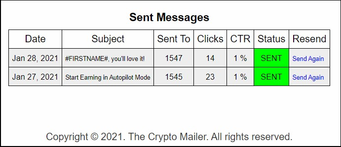 the crypto mailer, email stats